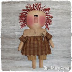 Primitive Raggedy Ann Doll ~ Sew Many Prims pattern model 1 - Prim Annie #SewManyPrims