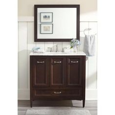 Home Decorators Collection Claxby 36 in. Vanity in Chocolate with Stone Effects Vanity Top in Winter Mist and Wall Mirror-CB36P3-CH - The Home Depot