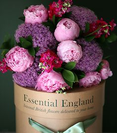 British flower bouquets    At Essential England each of our British flower bouquets, with its enchanting medley of scented flowers and foliage will epitomise the season in which it is presented and bring scented joy to your loved one's home throughout the year.  Individual bouquets £42.50  May's bouquet
