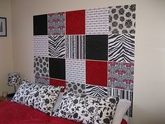 DIY Headboard with scrapbook paper! Great for an apartment! Check it out on my blog: theuncreativegirl.blogspot.com!