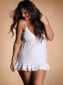 Plus Size Soft & Comfy Lace Trim Chemise