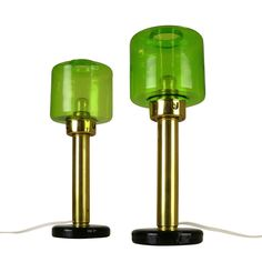 Rare set of two sixties table lights with green glass designed by Hans Agne Jakobsson // Price: € 460