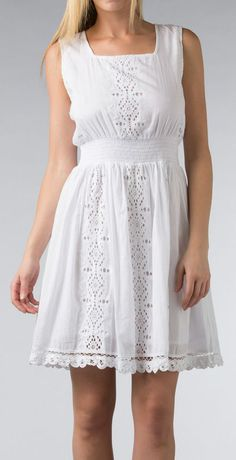 White Eyelet Shirred Square Neck Dress (Cute Dress)