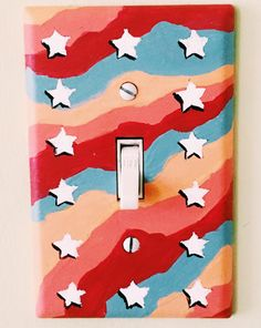 retro inspired stars and lines design Cute Bedroom Decor, Room Ideas Bedroom, Bedroom Art, Design Bedroom, Simple Canvas Paintings, Cute Paintings, Light Switch Art, Light Switch Covers, Painted Bedroom Doors