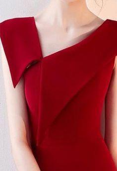 One Shoulder Red Midi Dress Sheath Cotton Slit Dress Red Midi Dress, New Dress, Slit Dress, Sheath Dress, Prom Dress, Elegant Midi Dresses, Mode Inspiration, Mode Outfits, Mode Style