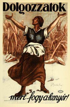 1959 Poster Erno Barta Hungary Hungarian Peasant Wheat - ORIGINAL POSA3