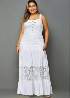 Lace Panel Spaghetti Strap Plus Size Maxi Dress Plus Size Maxi Dresses, Sexy Dresses, Casual Dresses, Elegant Dresses, Boho Dress Plus Size, Formal Dresses, Casual Outfits, Wedding Dresses, Simple Dresses