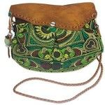 NOVICA Ethnic Embroidered Bag with Leather Accent from Thailand
