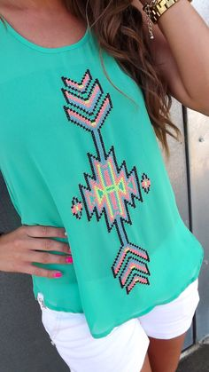 Quilted Tribal Tank in Green | The Rage