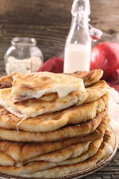 Delicious Moldavian pastries. Stuffed with a combination of feta & mozzarella cheese (brinza), these stuffed flat cakes are fried. Round flat Moldovan pastries