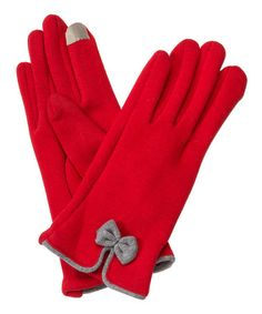 This Red & Gray Bow Gloves is perfect! #zulilyfinds