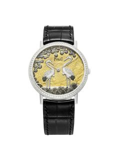Piaget Altiplano watch in white gold case set with 78 brilliant-cut diamonds. The bracelet is in black alligator with a white gold ardillon buckle. #altiplano #piaget #watch #cygogne #diamond #amythicaljourney