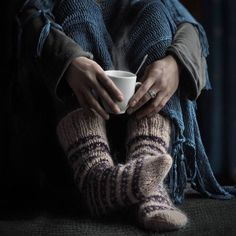 Knitted Socks cup of hot coffee Boho Life Style winter cosiness