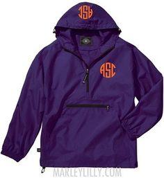Monogrammed Purple Lightweight Pullover Rain Jacket, $44.99