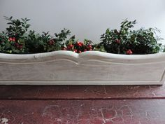 Rustic Wooden Planter Box Vintage Window Box  Indoor Outdoor Planter Painted with Annie Sloan Chalk Paint Antique White