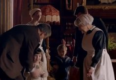 """downton abbey season 5 episode 1: the children of the abbey....sybbie and george arrive!! sybbie calls grandfather grantham """"donk"""" because he played pin the tail on the donkey with her :)"""