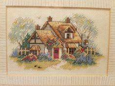 Finished Cross Stitch Cottage Scene Framed Under Glass With Custom Mat Custom Mats, Cute Cross Stitch, Stained Glass, Needlework, Glass Art, Vintage World Maps, Miniatures, Scene, It Is Finished