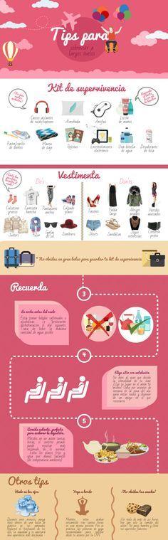 Tips para sobrevivir a vuelos de largo recorrido. Infografía de viajes. Travel infographic