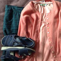 26/6/16: blue Boden skirt, pink Boden tee, pink Brora cardi, blue Clarks sandals Clarks Sandals, Capsule Wardrobe, Skirt, Pink, Collection, Boden, Pink Hair, Roses, Skirts