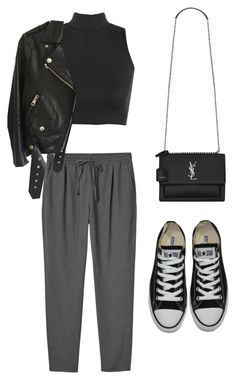 """Untitled #5289"" by lilaclynn ❤ liked on Polyvore featuring Monki, WearAll, Acne Studios, Converse and Yves Saint Laurent"