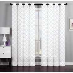 Shop for Artistic Linen Geometric Flocked Linen Curtain Window Panel Pair. Get free delivery On EVERYTHING* Overstock - Your Online Home Decor Outlet Store! Get in rewards with Club O! Window Panels, Window Curtains, Cheap Curtains, Home Decor Outlet, Contemporary Style, Living Spaces, Living Room, Windows, Furniture