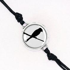 Friendship Jackdaw Cord Bracelet, Black Bird Silhouette Stack Bracelet, Handmade Glass Dome, Silver, Antique Bronze, KC Gold BCZA02R03K02