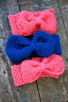 BABY KNIT HEADBAND Little Girl with Big Bow by TheBurgundyBow