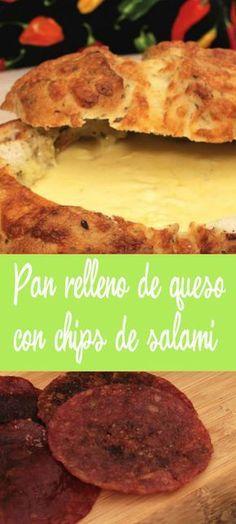 Ingredientes •1 pan redondo •100 mililitros de crema para batir •2 cucharadas de mayonesa •250 gramos de queso rallado o troceado que derrita (Edam, Gruyere…) •150 mililitros de vino blanco •1 cebolla de cambray fresca mediana limpia y picada muy fina •Pimienta negra recién molida •Chips •1 paquete de peperonni •1 paquete de salami
