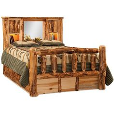 Amish Rustic Aspen Log Bed with Bookcase Headboard ($1,400) ❤ liked on Polyvore featuring home, furniture, beds, book shelves, king storage bed, king size bed, book shelf and king storage headboard