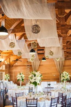 Your wedding reception will not be awesome if you don't have any cool decoration for it. If you have an indoor wedding reception, then you should focus on decor Wedding Ceiling, Barn Wedding Decorations, Indoor Wedding, Wedding Venues, Wedding Ideas, Trendy Wedding, Barn Weddings, Budget Wedding, Wedding Ceremonies