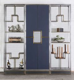 Amuneal Thornburg Shelving System 3 Bay Unit with Lacquered Doors