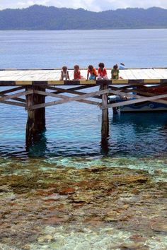 Kids on the jetty at Arborek Island Raja Ampat Islands, Archipelago, Some Pictures, Underwater, Free People, Earth, Kids, Bjorn Borg, Toddlers