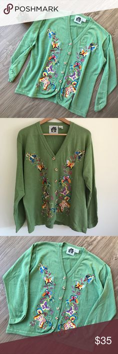 "Storybook Knits 3D Butterflies Cardigan Sweater LG Storybook Knits by HSN Cardigan Sweater Green | 3D Butterflies Size: Large Material: 55% Ramie | 45% Cotton Flat Lay Measurements: 20"" bustline 