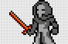 Star Wars Kylo Ren Pixel Art from BrikBook.com #StarWars #KyloRen #Forcewarrior #BenSolo #JediKiller #pixel #pixelart #8bit  Shop more designs at http://www.brikbook.com