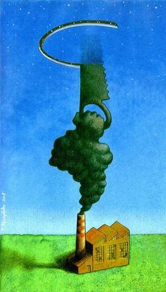 Ecology/Ecología - Polish illustrator Pawel Kuczynski portrays the misleading political and social situation of our time in satirical illustrations. The images have both a humoristic and a serious dimension.