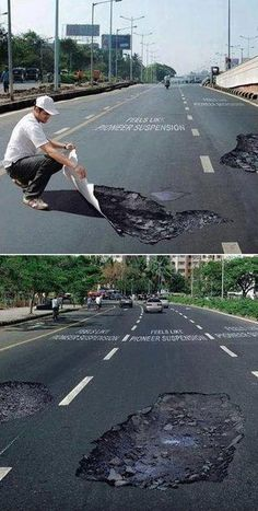Fake holes on the road for drivers to slow down the speed! 3D Street Art  |AmazingStreetArt|