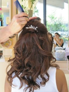 Curly Half Updo Hairstyles - Curly half up/down hairstyles are some of the most interesting and practical hairstyles for medium to long hair length. Description from pinterest.com. I searched for this on bing.com/images