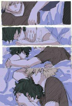 Izuku, Katsuki, yaoi, bed, sleeping; My Hero Academia
