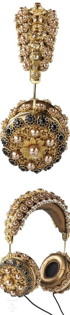 Dolce & Gabbana Embellished Bronze Leather Headphones //Pinned on @benitathediva/, DIY Fashion LifeSTYLE Blog