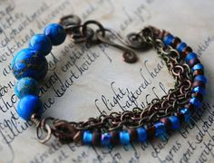 Blue Planets Mixed Media Bracelet by eccentricsunshyne on Etsy, $23.00