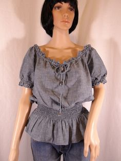 Blue Denim Top Elastic Smocked Waist Size XL | American Living
