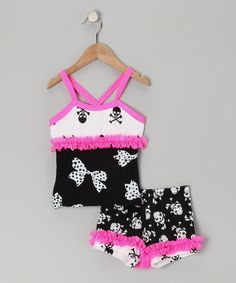 Take a look at this Lexu-Luu Black & Pink Skull Tank & Shorts - Toddler & Girls by Lexi-Luu Designs on #zulily today!
