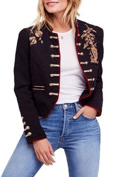 People Lauren Band Jacket Military Embroidered Gold Open Front M for sale online Military Jacket Women, Blazer Jackets For Women, Military Fashion, Denim Jackets, Military Style, Cool Outfits, Casual Outfits, Fashion Outfits, Fashion Styles