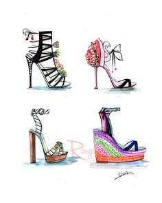 Shoe wall art ,Sophia webster shoes, Shoe art, fashion illustration, fashion art, Dressing room art,Chic wall decor, Gift for shoe lover by Houston fashion illustrator Rongrong DeVoe