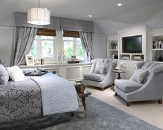 Master bedroom layout; cool blues