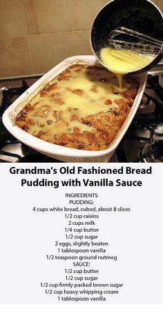 Grandma & old fashioned bread pudding with vanilla sauce Best taste of the food! - Grandma & old fashioned bread pudding with vanilla sauce Best taste of food! Easy Desserts, Delicious Desserts, Yummy Food, Sweet Recipes, Cake Recipes, Bread Pudding Recipes, Old Fashion Bread Pudding Recipe, Bread Pudding Recipe With Vanilla Sauce, Biscuit Bread Pudding Recipe