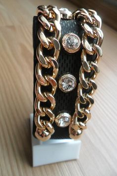 leather bracelet with stonesadjustableblack leather by aydam, $25.00