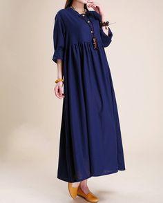 Atmosphérique lin Maxi robe femmes tunique longue robe par MaLieb