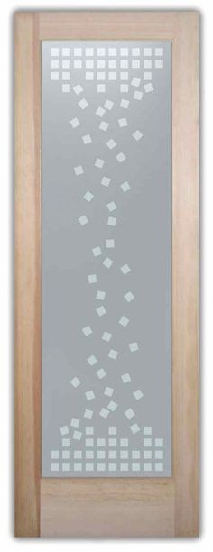 Squares Falling - contemporary door designs frosted squares falling etched privacy by Sans Soucie Art Glass.