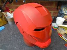 Build an Iron Man Helmet for Cheap!: 10 Steps (with Pictures) Spray Paint Cans, Acrylic Spray Paint, Gold Spray Paint, Red Paint, Iron Man Helmet, Red Pictures, 3d Puzzles, Foam Crafts, Iron Man